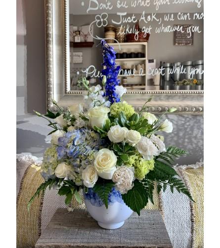 Fresh Blue & Cream Arrangement