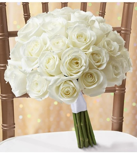 Simply White Rose Bridal Bouquet