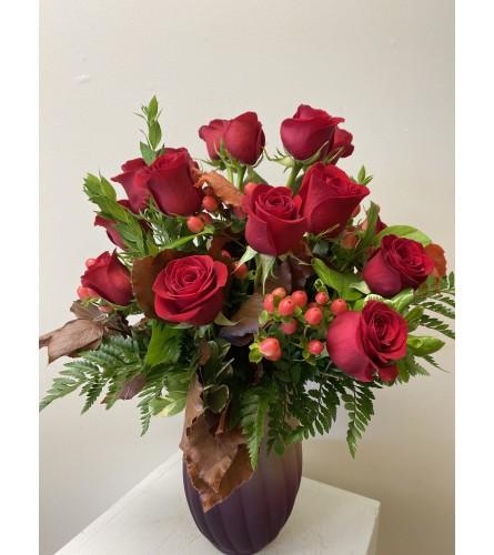 Fall Feel Roses in a vase