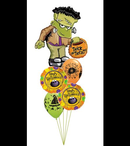 Trick or Treat Frankenstein Halloween Cheerful Balloon Bouquet