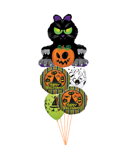 Black Halloween Cats Awesome Balloon Bouquet