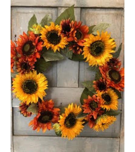 Sunflower Shades Silk Wreath