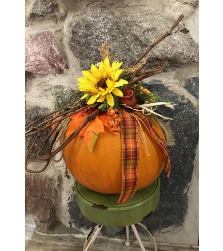 Pumpkin Arrangement with Artificial Florals