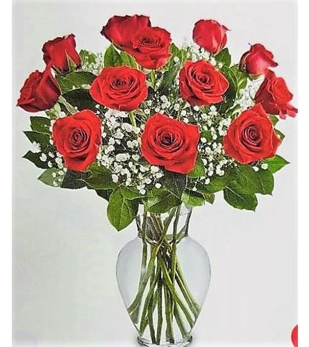 Dozen Elegant Red Roses