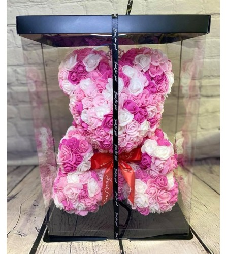 Forever Rose Teddy In Multicolor Pinks