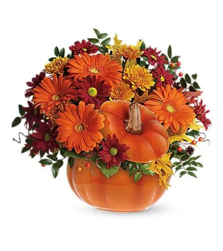 Teleflora's Country Pumpkin Flower Arrangement