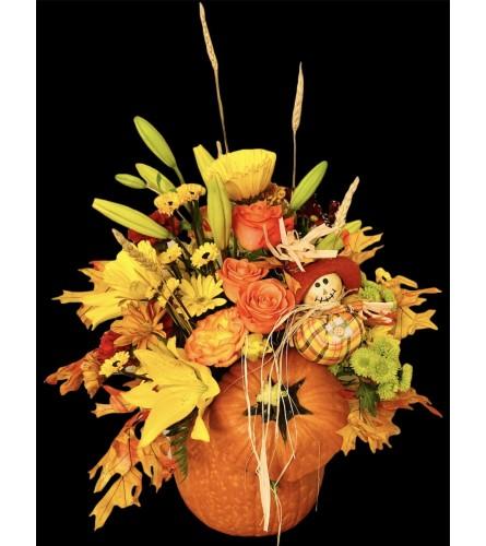 Happy Scarecrow Pumpkin