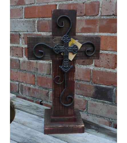 Wooden Cross with iron scroll