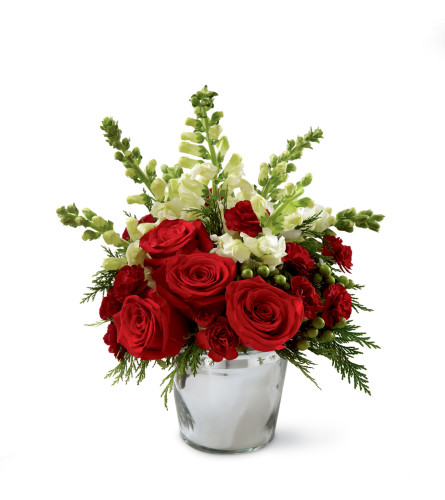 The FTD® Season's Sparkle™ Bouquet in a Silver Vase