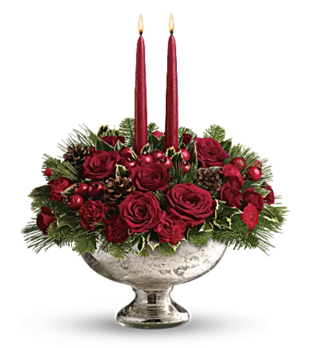 Teleflora's Mercury Glass Bowl Bouquet Centerpiece