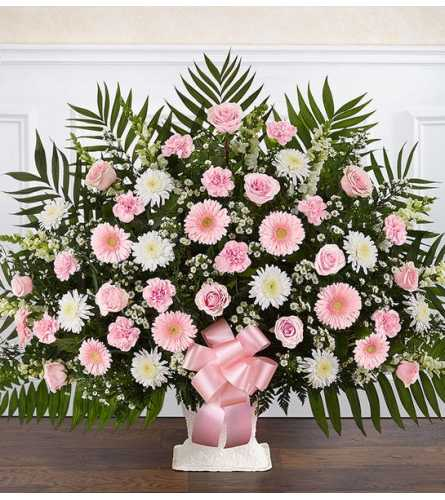 Heartfelt Tribute™ Floor Basket- Pink & White XL