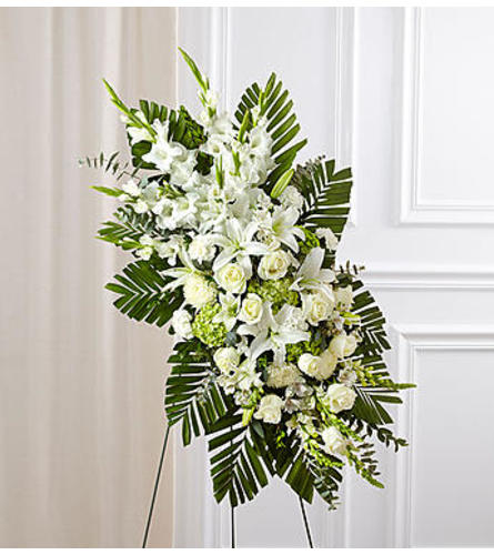 White Rose and Lily Standing Spray