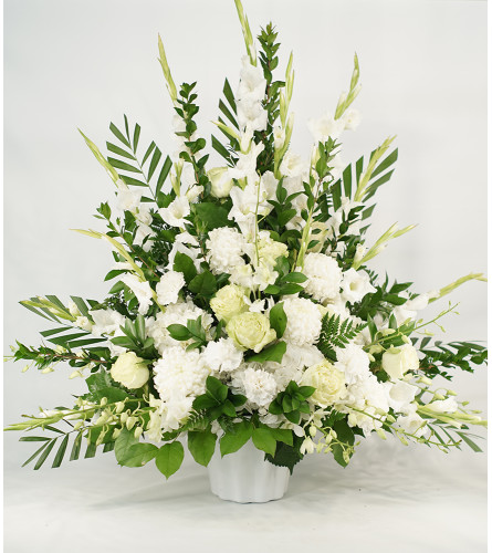 White and Green Tribute Arrangement