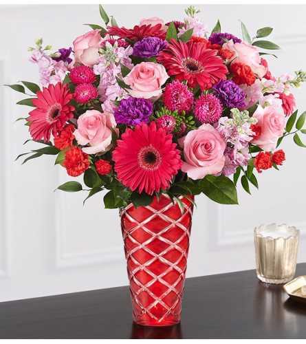 Radiant Rhapsody™ Bouquet in Red Vase