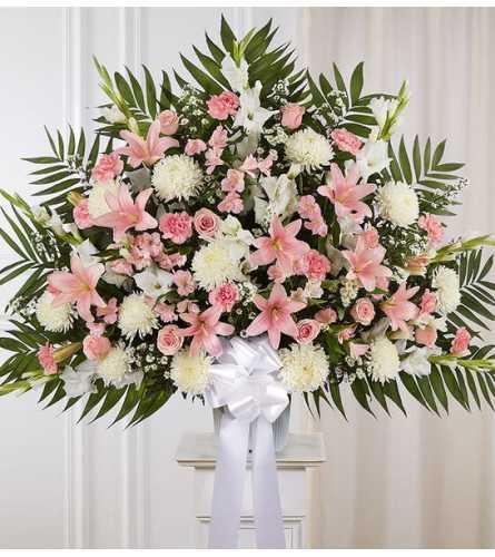 Heartfelt Sympathies™ Standing Basket- Pink &White XL