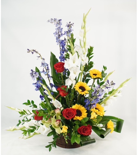 Colorful Abundance Basket with Sunflowers