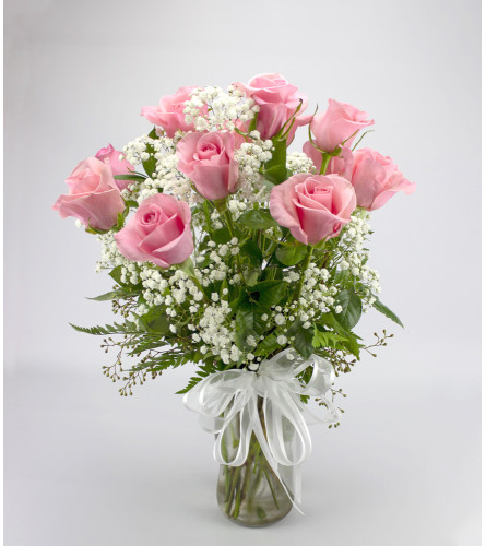 Classic Long Stem Pink Rose Arrangement