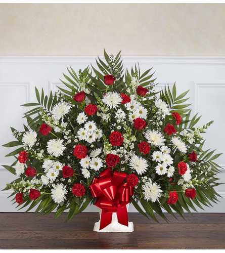 Heartfelt Tribute™ Floor Basket- Red & White XL