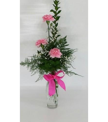 Pink Carnation Bud Vase