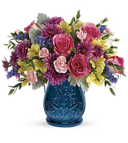 Teleflora's Burst Of Blue Bouquet