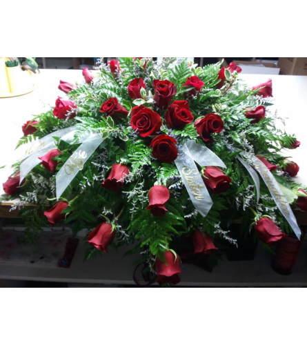 Classic Red Rose Casket Piece
