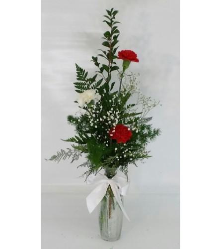 Red and White Carnation Vase