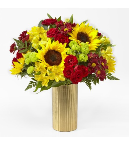 Shades of Autumn Bouquet in a Gold Vase