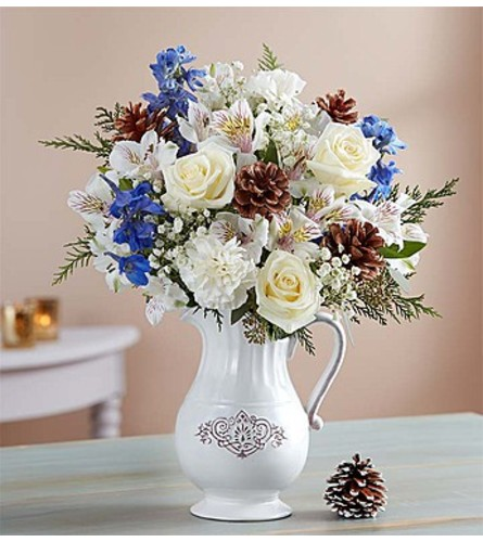 Winter Wishes Bouquet™ in a Pitcher