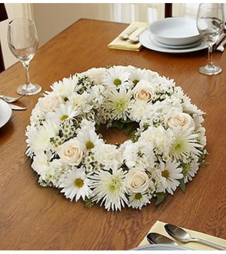 All White Wreath Centerpiece