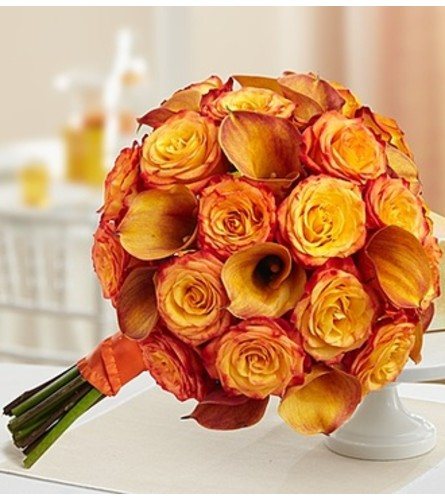 Golden Sunset Rose and Mini Calla Lily Bouque