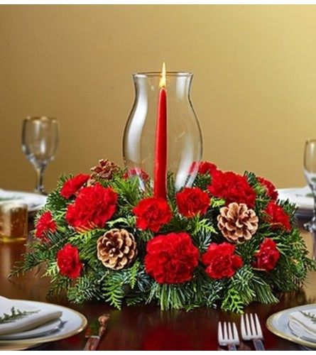 Holiday Centerpiece with Glass Hurricane
