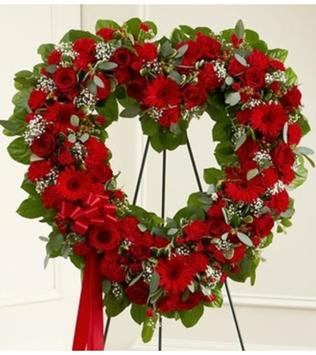 Always Remember Red Floral Heart Tribute