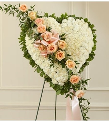 White Heart with Peach Rose Break