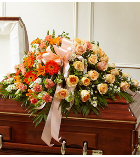 Cherished Memories Half Casket Cover-Peach &