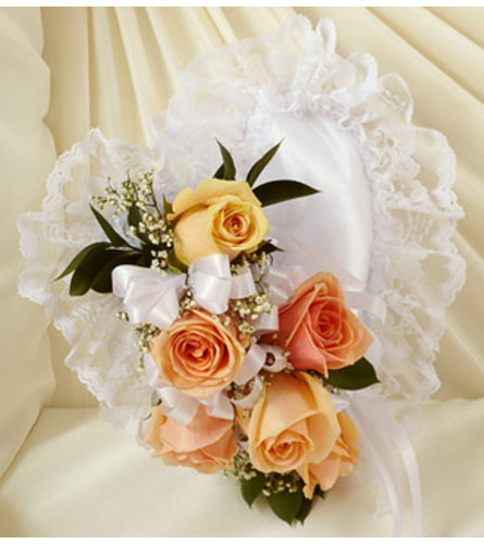 Peach and White Satin Heart Casket Pillow