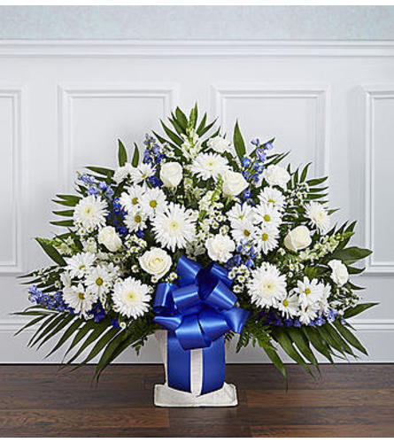 Heartfelt Tribute Blue & White Floor Basket