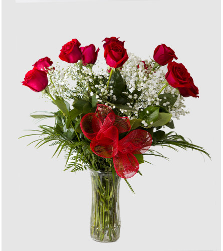 One Dozen Roses with Vase