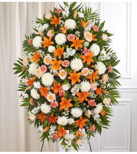 Peach, Orange & White Sympathy Standing Spray XL