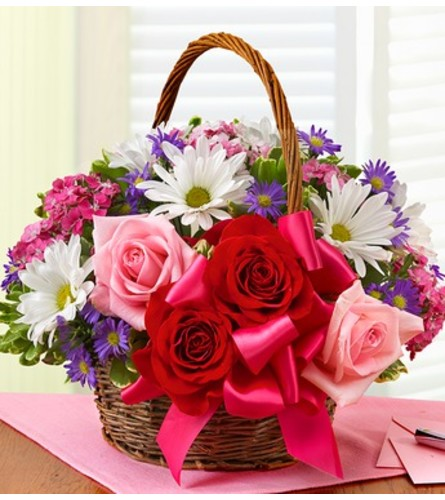 Basket of Love with Roses