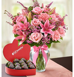 Pink flowers fruits flowers bridgeport ct florist expressions of pink with strawberries mightylinksfo