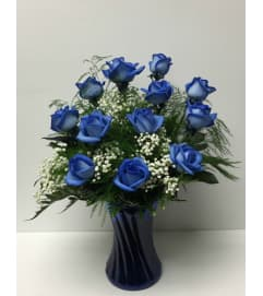 12 Blue Roses Arranged in a Vase