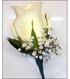 Single White Rose Boutonniere pick up only