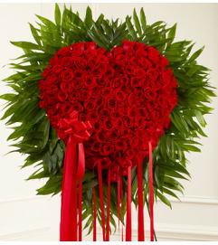 RED ROSES BLEEDING HEART
