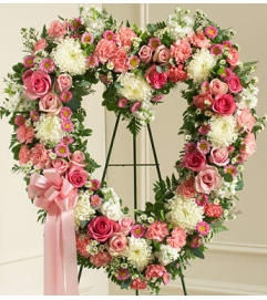 OPEN PINK AND WHITE HEART