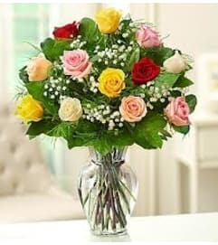 COLOURFUL ROSES ARRANGED