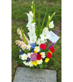 Flower Show Gravesite Arrangement