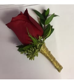 red rose boutonnière