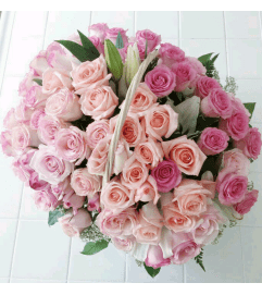 Beautiful Pink Rose Basket