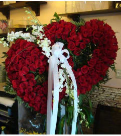 Double Red Rose Heart with Orchids