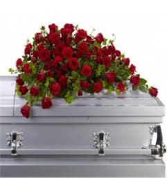 Shades of Red Casket Spray